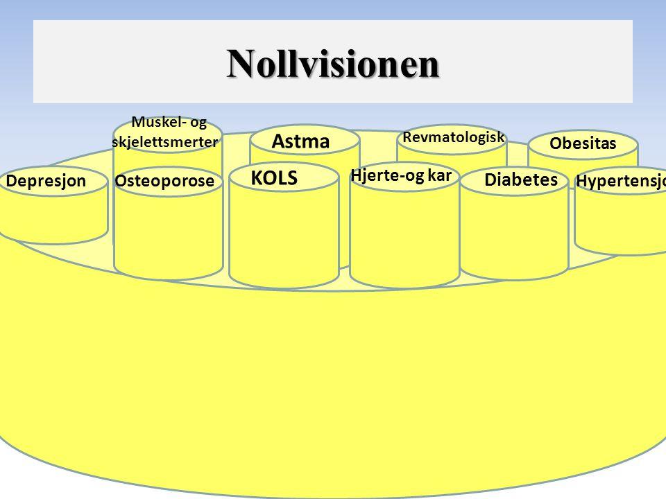 Depresjon KOLS Hjerte-og kar Diabetes Hypertensjon Astma Obesitas Revmatologisk Muskel- og skjelettsmerter Osteoporose Nollvisionen