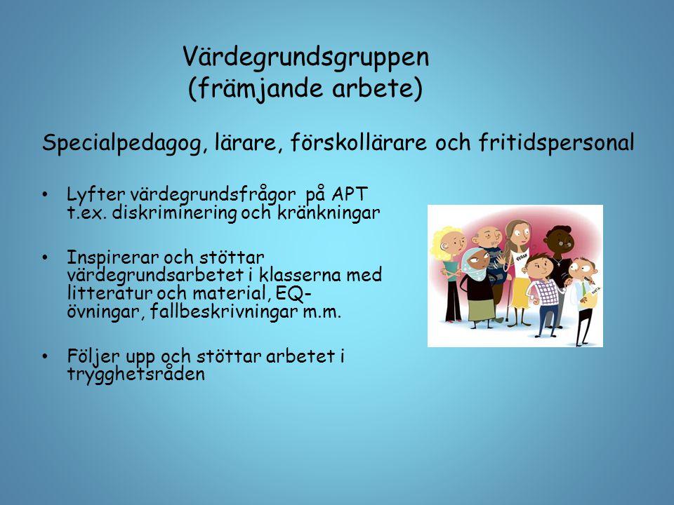 Värdegrundsgruppen (främjande arbete) Lyfter värdegrundsfrågor på APT t.ex. diskriminering och kränkningar Inspirerar och stöttar värdegrundsarbetet i