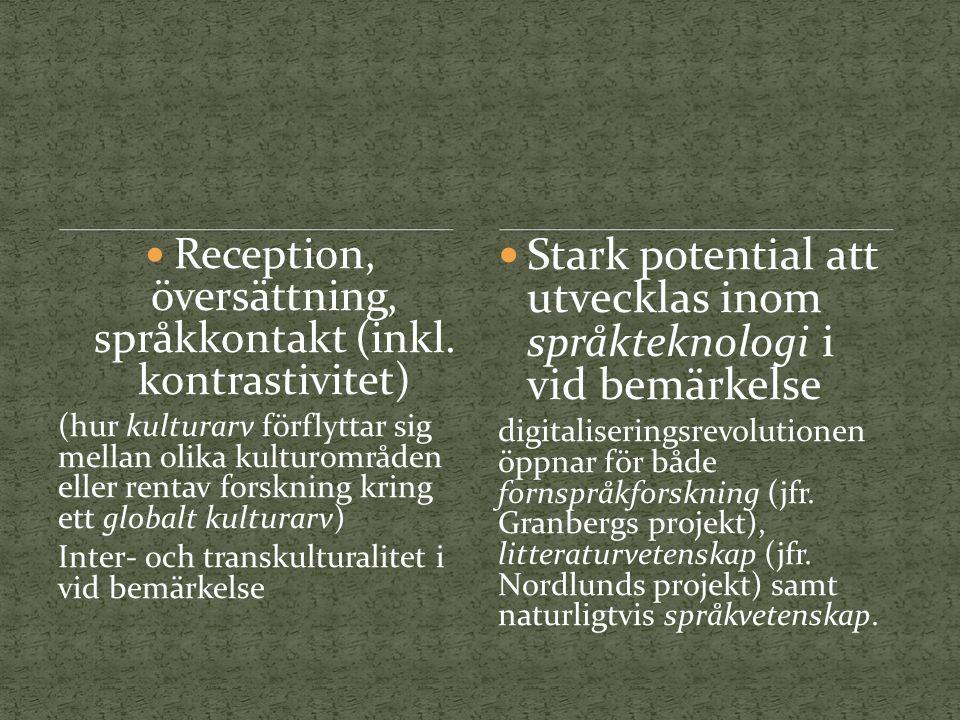 Reception, översättning, språkkontakt (inkl.