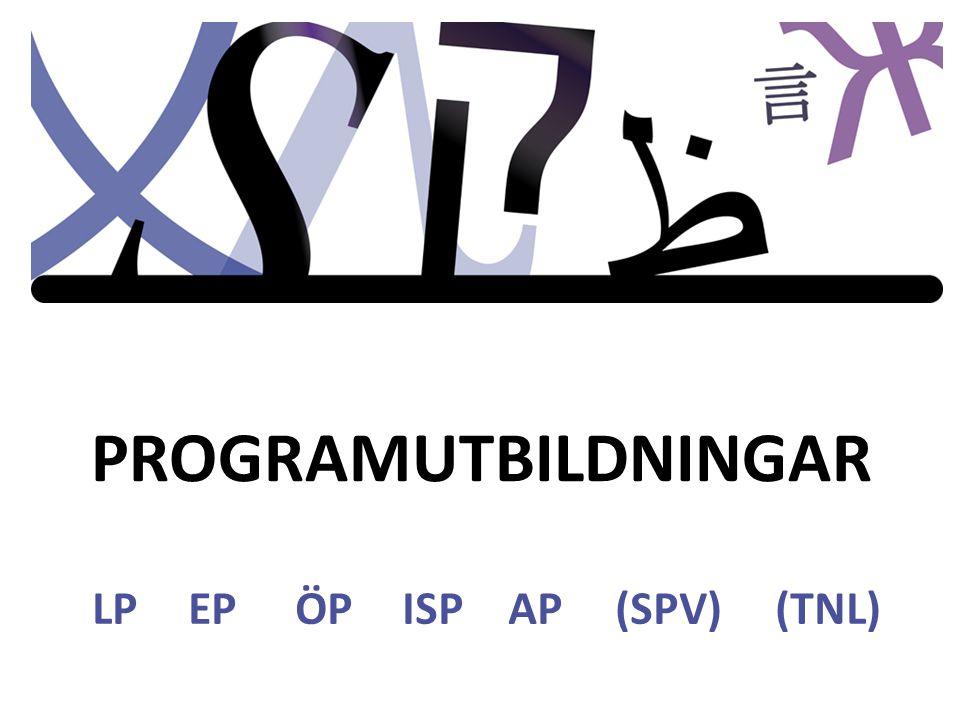 PROGRAMUTBILDNINGAR LP EP ÖP ISP AP (SPV) (TNL)