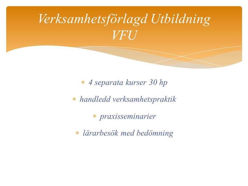 4 separata kurser 30 hp  handledd verksamhetspraktik  praxisseminarier  lärarbesök med bedömning Verksamhetsförlagd Utbildning VFU