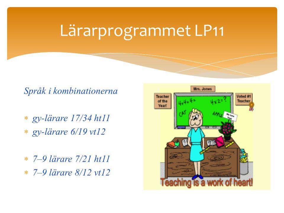 Lärarprogrammet LP11 Språk i kombinationerna  gy-lärare 17/34 ht11  gy-lärare 6/19 vt12  7–9 lärare 7/21 ht11  7–9 lärare 8/12 vt12