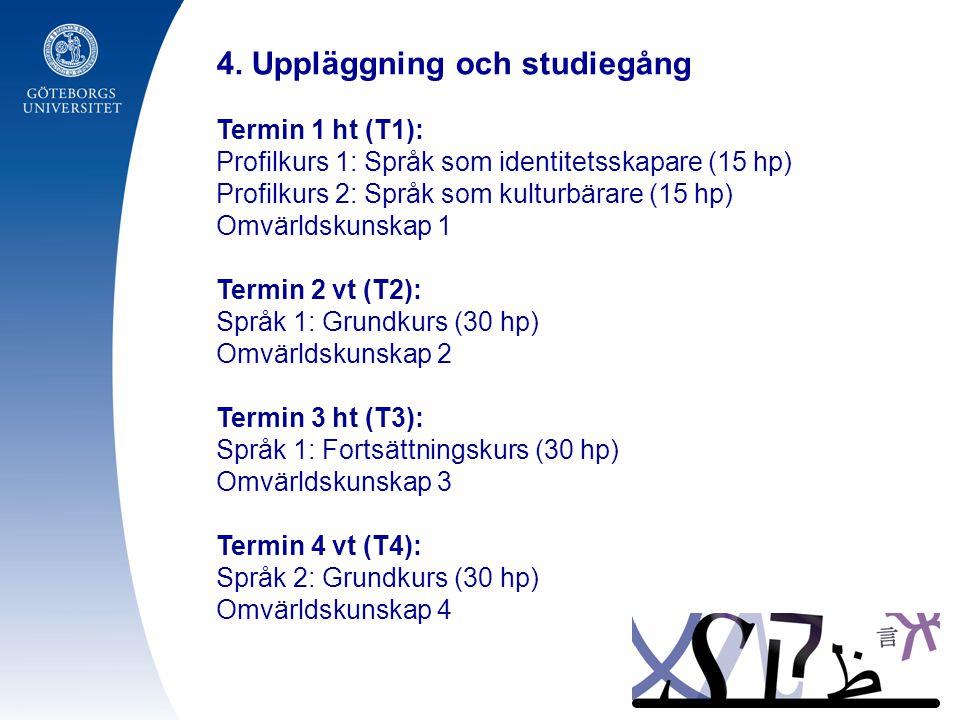 4. Uppläggning och studiegång Termin 1 ht (T1): Profilkurs 1: Språk som identitetsskapare (15 hp) Profilkurs 2: Språk som kulturbärare (15 hp) Omvärld