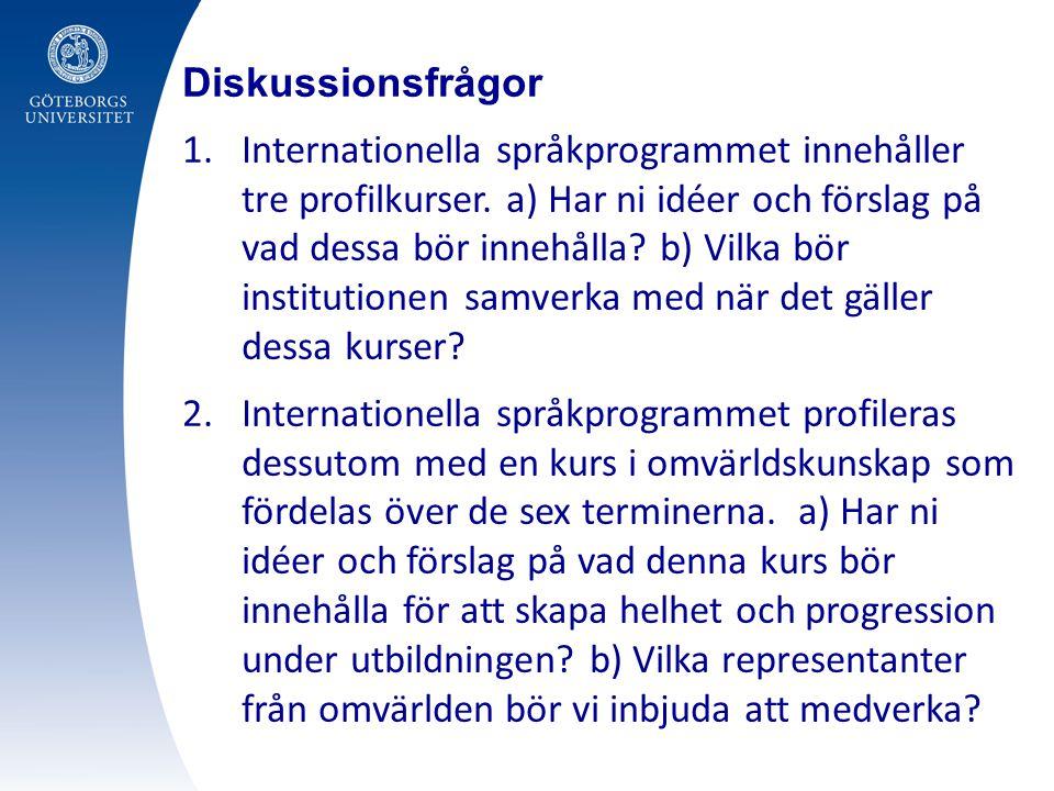 Diskussionsfrågor 1.Internationella språkprogrammet innehåller tre profilkurser.