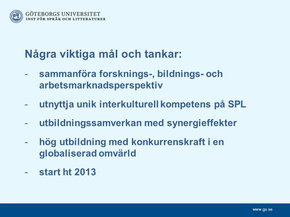 www.gu.se Några viktiga mål och tankar: -sammanföra forsknings-, bildnings- och arbetsmarknadsperspektiv -utnyttja unik interkulturell kompetens på SPL -utbildningssamverkan med synergieffekter -hög utbildning med konkurrenskraft i en globaliserad omvärld -start ht 2013