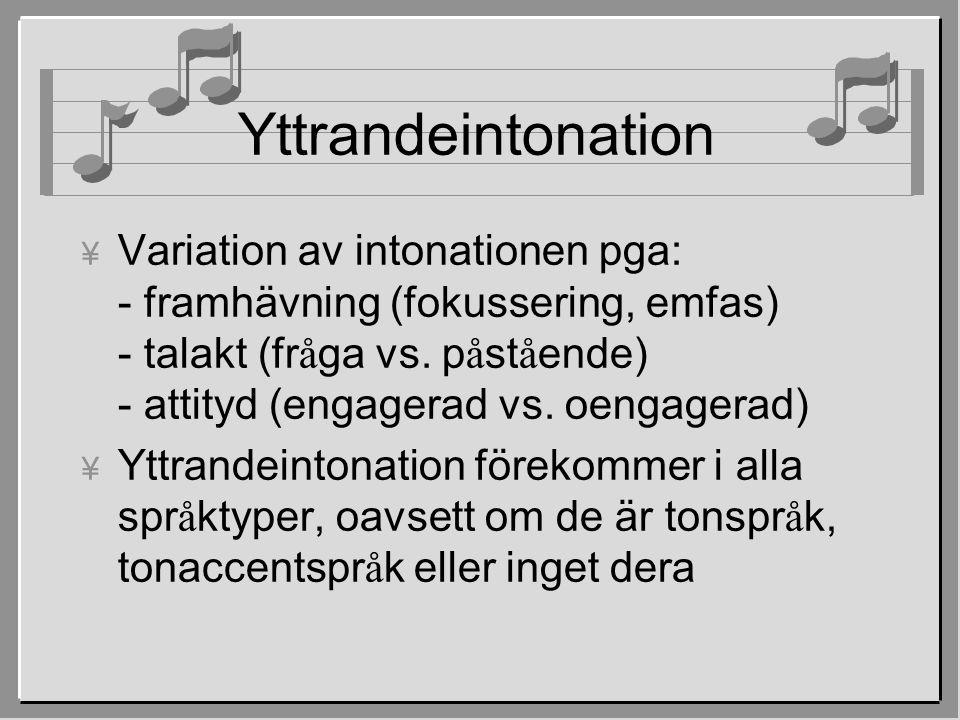 Yttrandeintonation  Variation av intonationen pga: - framhävning (fokussering, emfas) - talakt (fr å ga vs. p å st å ende) - attityd (engagerad vs. o