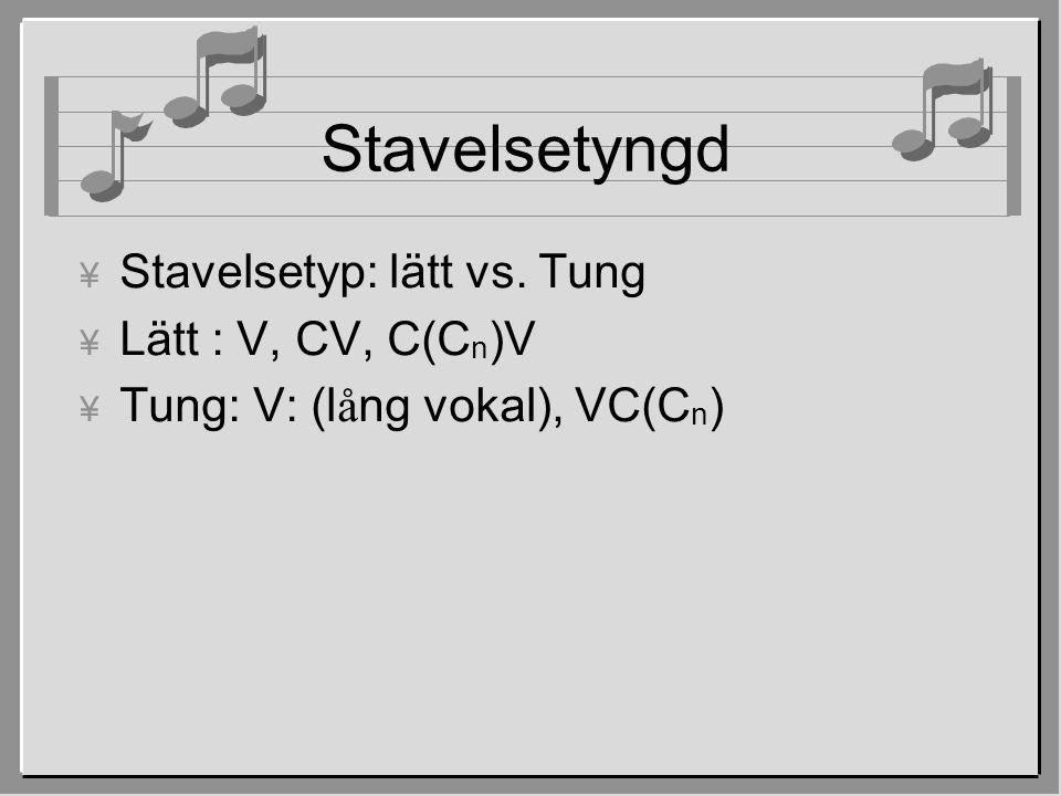 Stavelsetyngd ¥ Stavelsetyp: lätt vs. Tung ¥ Lätt : V, CV, C(C n )V  Tung: V: (l å ng vokal), VC(C n )