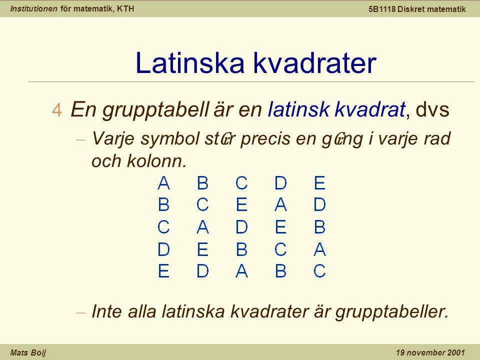 Institutionen för matematik, KTH Mats Boij 5B1118 Diskret matematik 19 november 2001 Latinska kvadrater 4 En grupptabell är en latinsk kvadrat, dvs – Varje symbol st ₢ r precis en g ₢ ng i varje rad och kolonn.