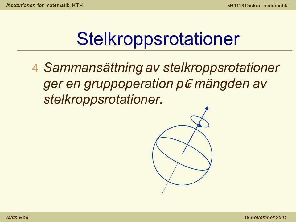 Institutionen för matematik, KTH Mats Boij 5B1118 Diskret matematik 19 november 2001 Stelkroppsrotationer 4 Sammansättning av stelkroppsrotationer ger en gruppoperation p ₢ mängden av stelkroppsrotationer.