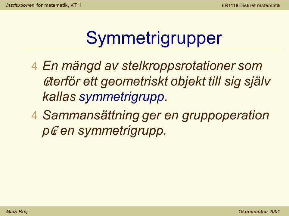 Institutionen för matematik, KTH Mats Boij 5B1118 Diskret matematik 19 november 2001 Symmetrigrupper 4 En mängd av stelkroppsrotationer som ₢ terför ett geometriskt objekt till sig själv kallas symmetrigrupp.