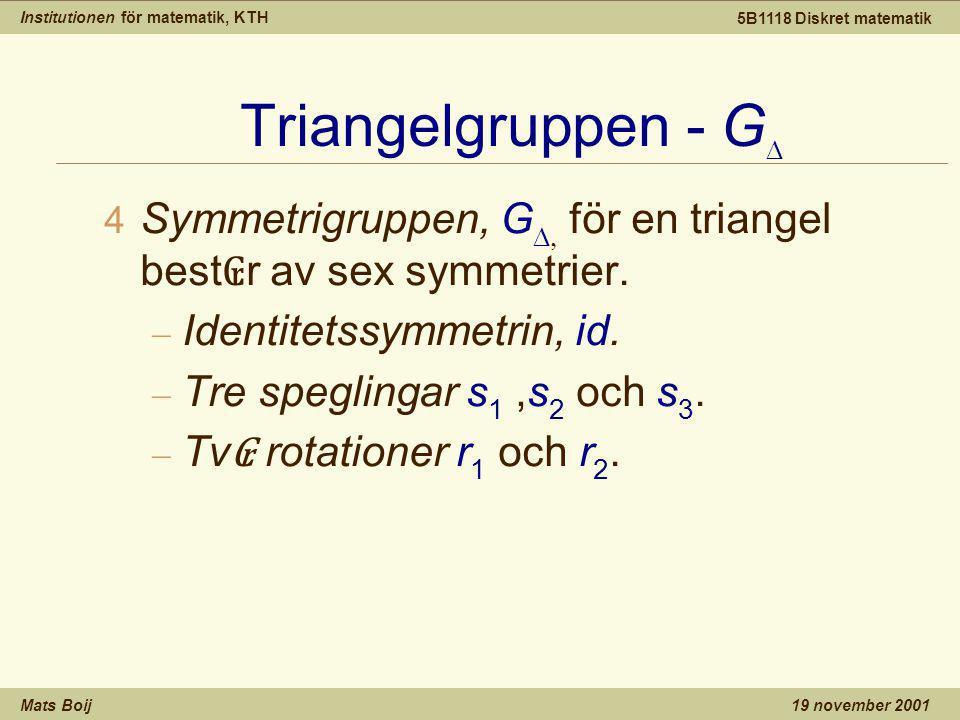 Institutionen för matematik, KTH Mats Boij 5B1118 Diskret matematik 19 november 2001 Triangelgruppen - G   Symmetrigruppen, G  för en triangel best ₢ r av sex symmetrier.