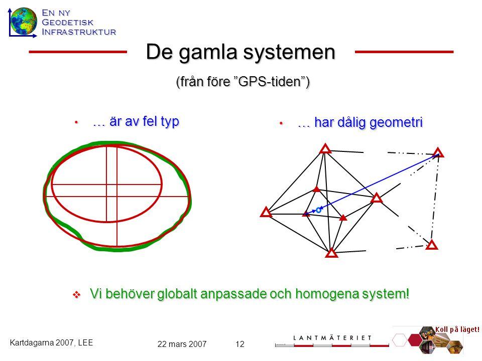 En ny GeodetiskInfrastruktur Kartdagarna 2007, LEE 22 mars 200712 De gamla systemen … är av fel typ … är av fel typ … har dålig geometri … har dålig g