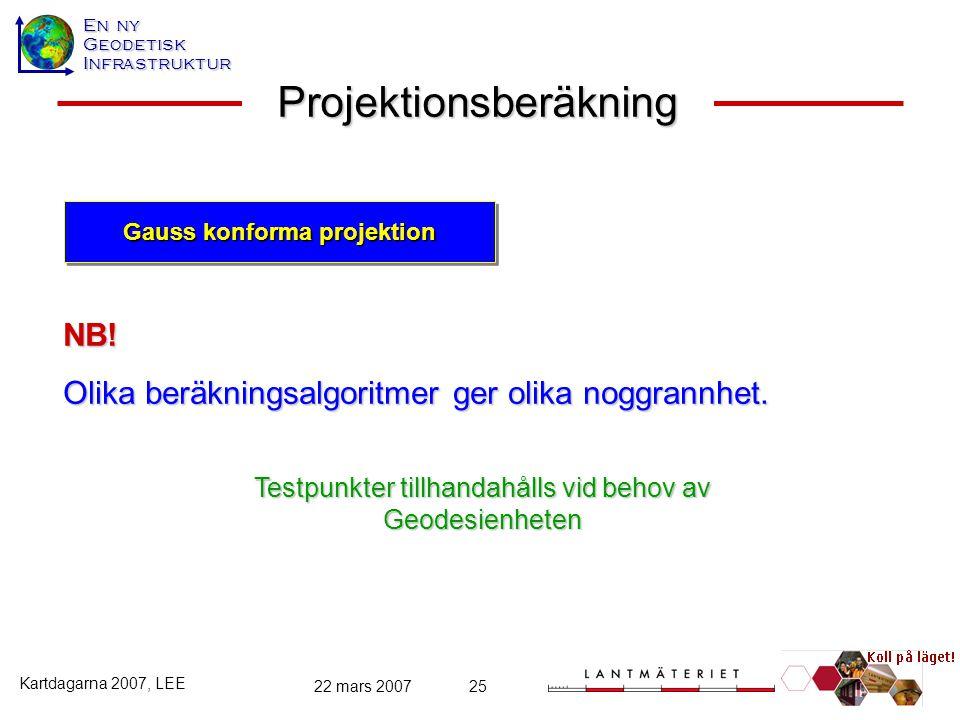 En ny GeodetiskInfrastruktur Kartdagarna 2007, LEE 22 mars 200725 Projektionsberäkning NB! Olika beräkningsalgoritmer ger olika noggrannhet. Gauss kon