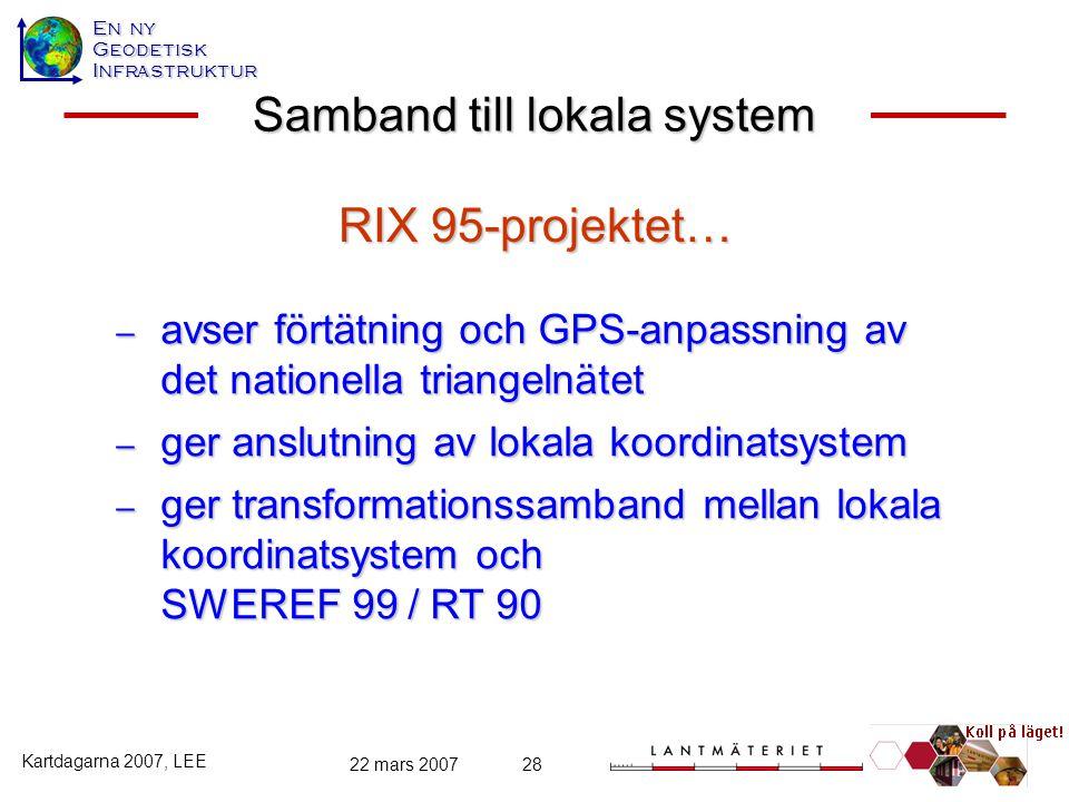 En ny GeodetiskInfrastruktur Kartdagarna 2007, LEE 22 mars 200728 Samband till lokala system – avser förtätning och GPS-anpassning av det nationella t