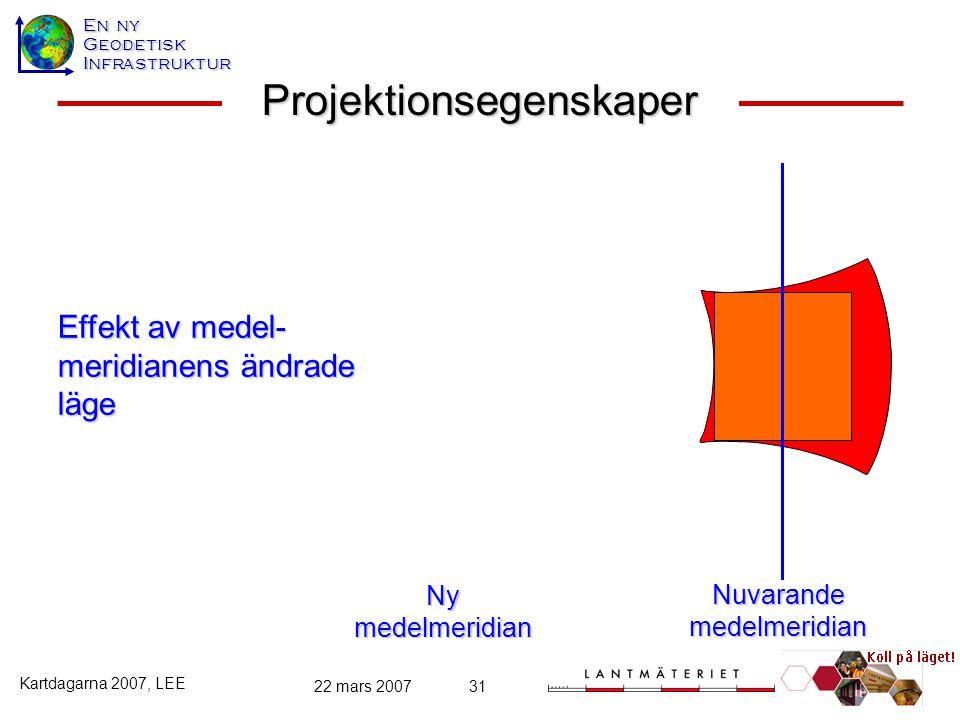 En ny GeodetiskInfrastruktur Kartdagarna 2007, LEE 22 mars 200731 Projektionsegenskaper Nuvarande medelmeridian Ny medelmeridian Effekt av medel- meri