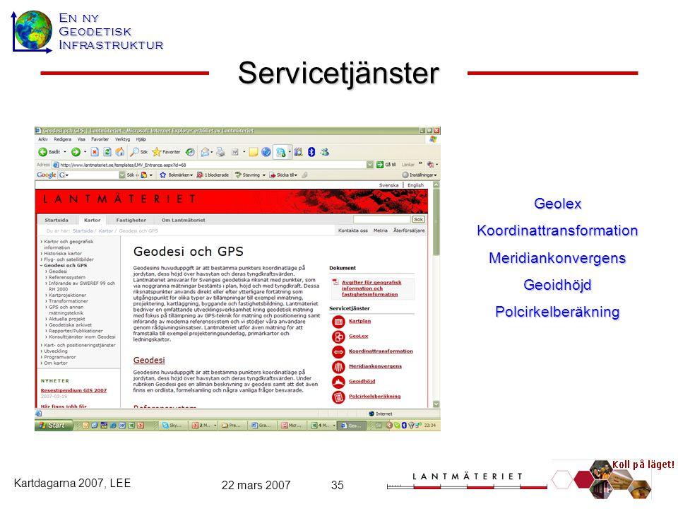 En ny GeodetiskInfrastruktur Kartdagarna 2007, LEE 22 mars 200735 Servicetjänster GeolexKoordinattransformationMeridiankonvergensGeoidhöjdPolcirkelber