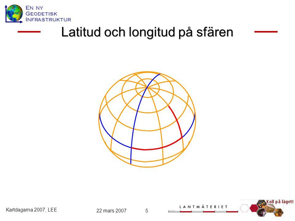 En ny GeodetiskInfrastruktur Kartdagarna 2007, LEE 22 mars 20075 Latitud och longitud på sfären