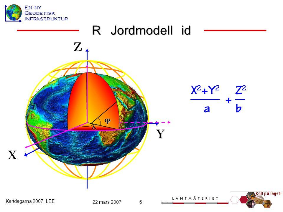 22 mars 20076 y z x x 2 y 2 z 2 a brotationsellipsoid φ jordmodell