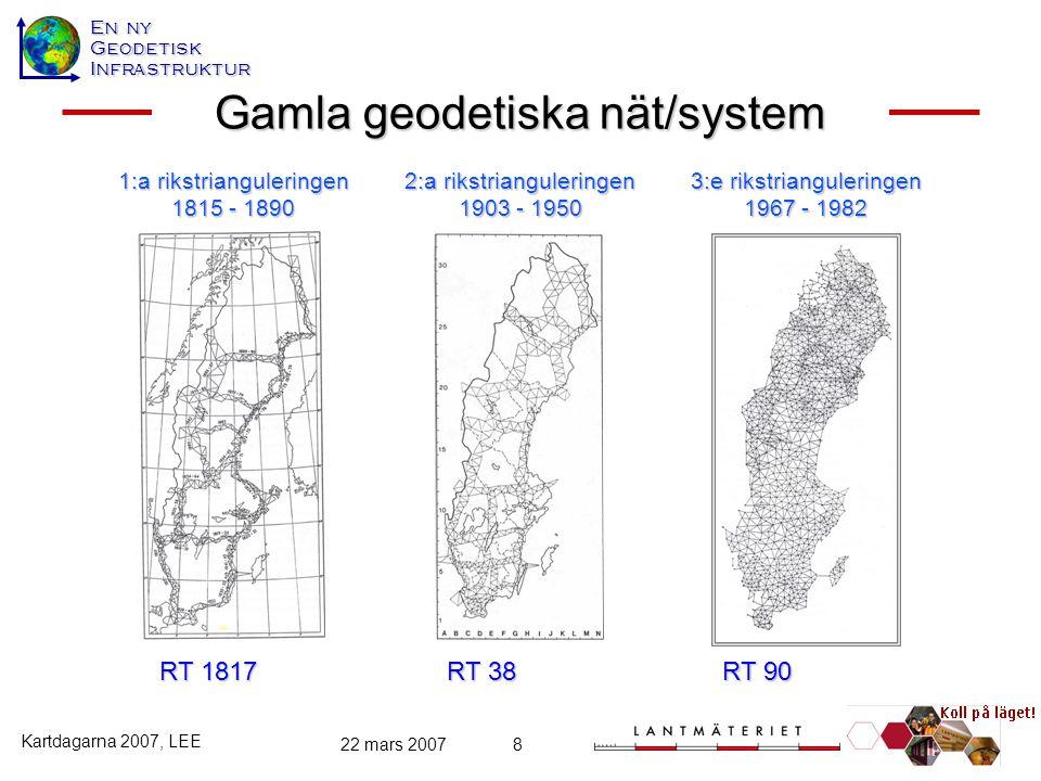 En ny GeodetiskInfrastruktur Kartdagarna 2007, LEE 22 mars 20078 Gamla geodetiska nät/system RT 1817 1:a rikstrianguleringen 1815 - 1890 RT 38 2:a rik