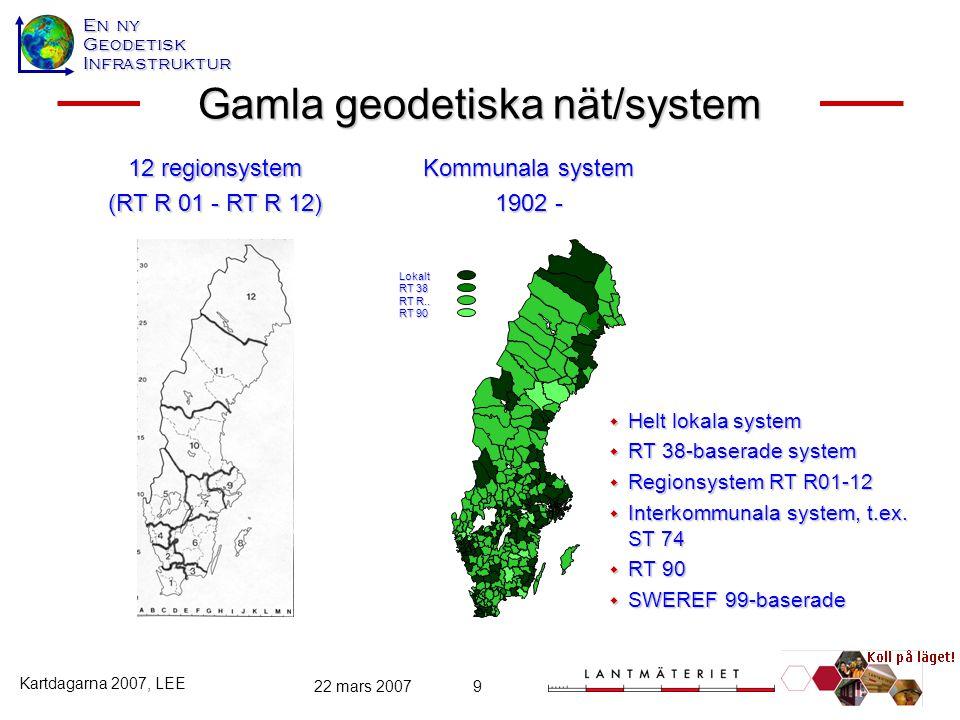 En ny GeodetiskInfrastruktur Kartdagarna 2007, LEE 22 mars 20079 Gamla geodetiska nät/system 12 regionsystem (RT R 01 - RT R 12)  Helt lokala system