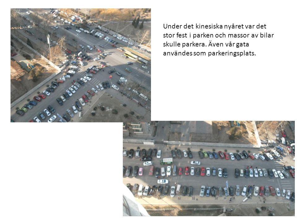 Under det kinesiska nyåret var det stor fest i parken och massor av bilar skulle parkera. Även vår gata användes som parkeringsplats.