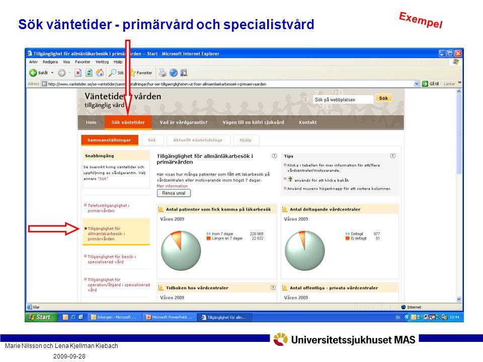 Marie Nilsson och Lena Kjellman Kiebach 2009-09-28 Vad innebär vårdgarantin och hur fungerar den? PatientForum Malmö 2009-09-28 Sök väntetider - primä