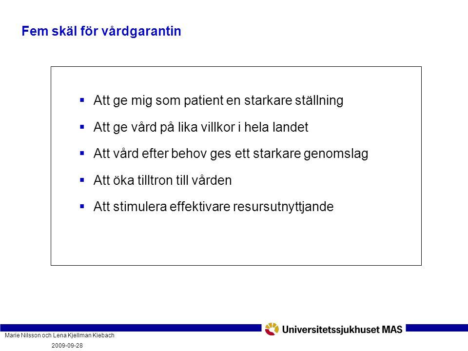 Marie Nilsson och Lena Kjellman Kiebach 2009-09-28 Vad innebär vårdgarantin och hur fungerar den? PatientForum Malmö 2009-09-28  Att ge mig som patie