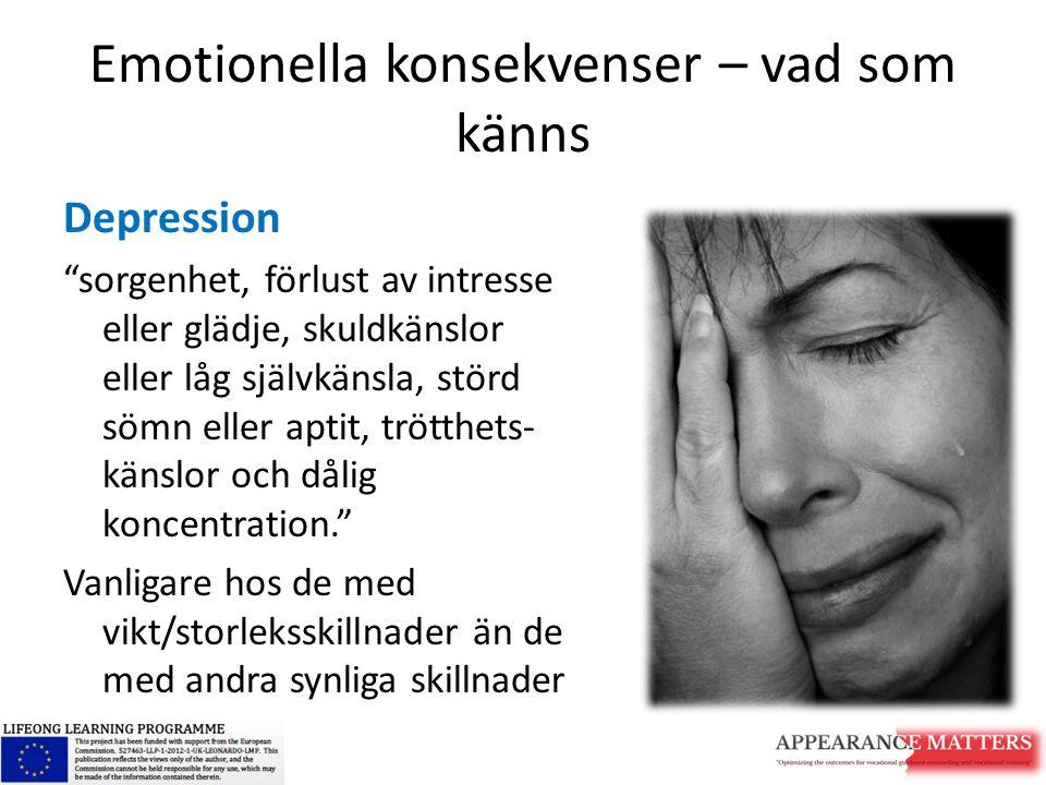 """Emotionella konsekvenser – vad som känns Depression """"sorgenhet, förlust av intresse eller glädje, skuldkänslor eller låg självkänsla, störd sömn eller"""