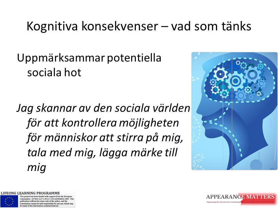 Kognitiva konsekvenser – vad som tänks Uppmärksammar potentiella sociala hot Jag skannar av den sociala världen för att kontrollera möjligheten för mä