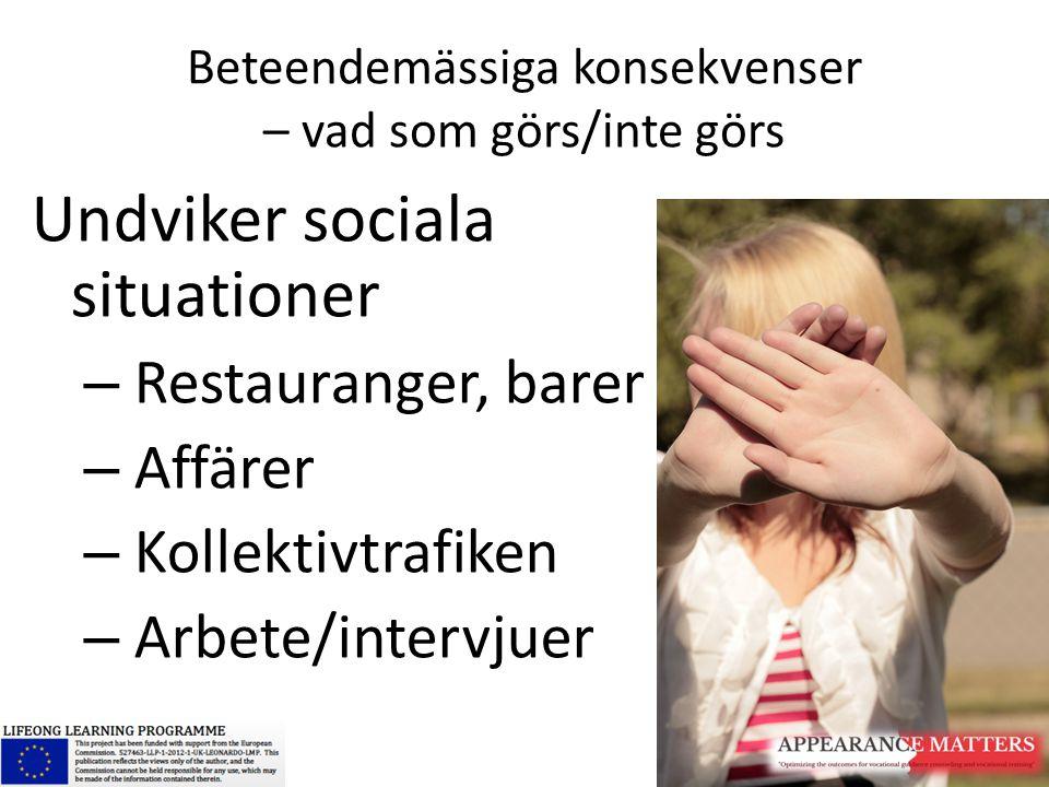 Beteendemässiga konsekvenser – vad som görs/inte görs Undviker sociala situationer – Restauranger, barer – Affärer – Kollektivtrafiken – Arbete/interv