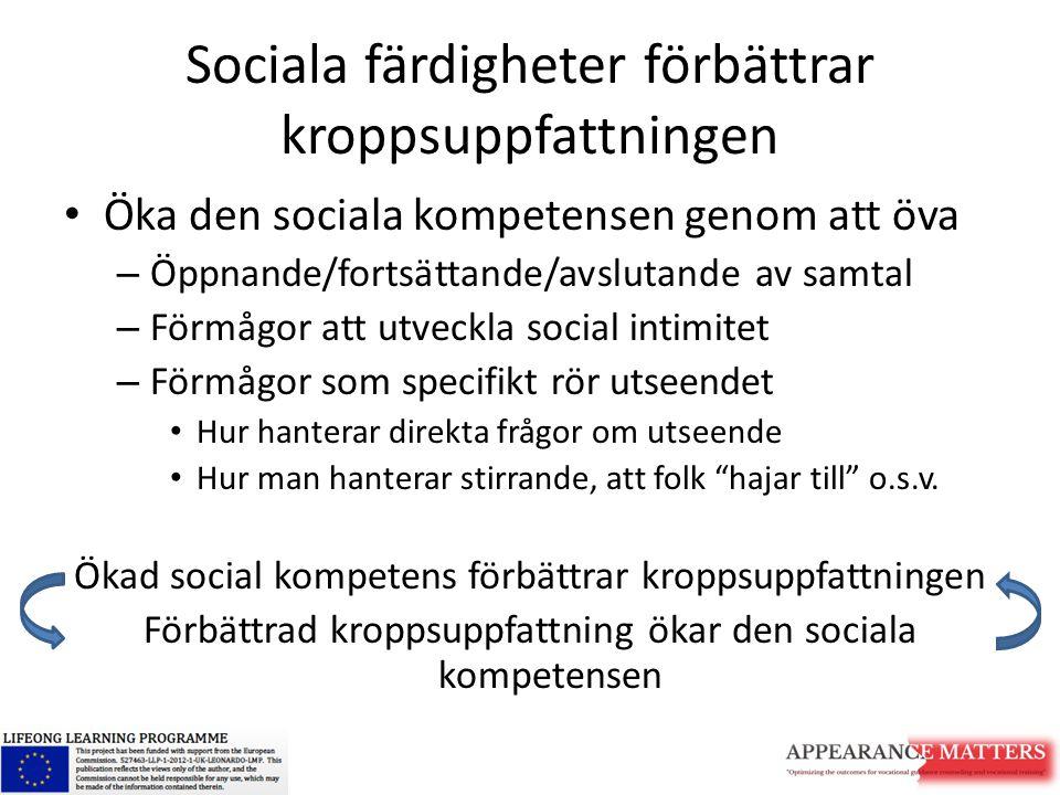 Sociala färdigheter förbättrar kroppsuppfattningen Öka den sociala kompetensen genom att öva – Öppnande/fortsättande/avslutande av samtal – Förmågor a