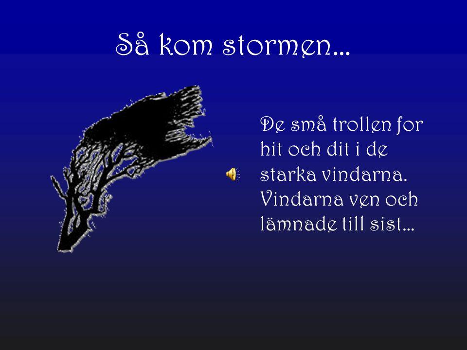 Så kom stormen… De små trollen for hit och dit i de starka vindarna.