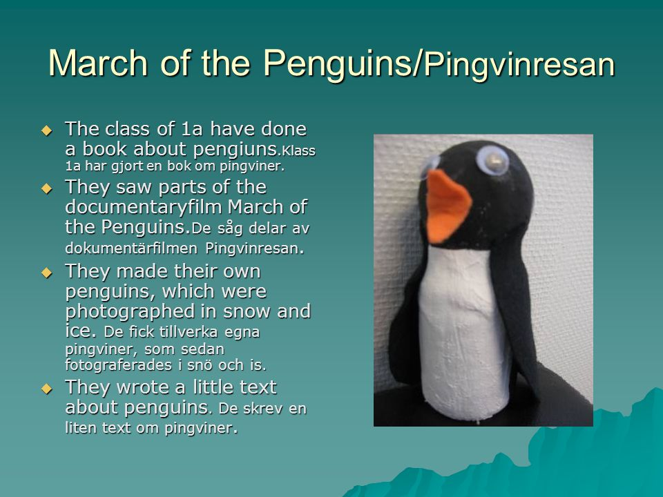 March of the Penguins/ Pingvinresan  The class of 1a have done a book about pengiuns.Klass 1a har gjort en bok om pingviner.
