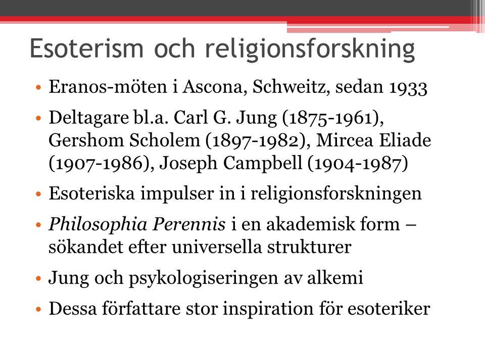 Esoterism och religionsforskning Eranos-möten i Ascona, Schweitz, sedan 1933 Deltagare bl.a. Carl G. Jung (1875-1961), Gershom Scholem (1897-1982), Mi