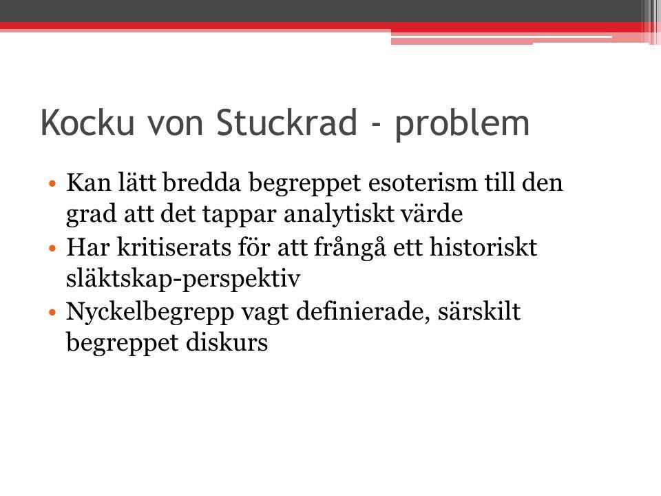 Kocku von Stuckrad - problem Kan lätt bredda begreppet esoterism till den grad att det tappar analytiskt värde Har kritiserats för att frångå ett hist