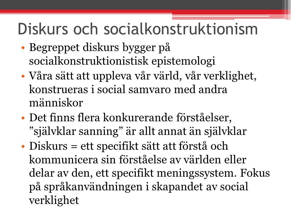 Diskurs och socialkonstruktionism Begreppet diskurs bygger på socialkonstruktionistisk epistemologi Våra sätt att uppleva vår värld, vår verklighet, k
