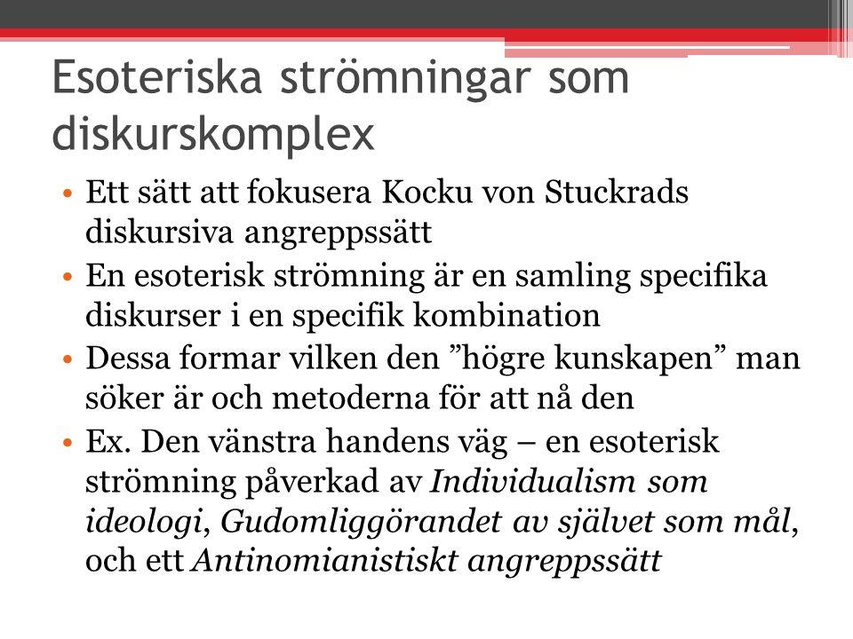 Esoteriska strömningar som diskurskomplex Ett sätt att fokusera Kocku von Stuckrads diskursiva angreppssätt En esoterisk strömning är en samling speci