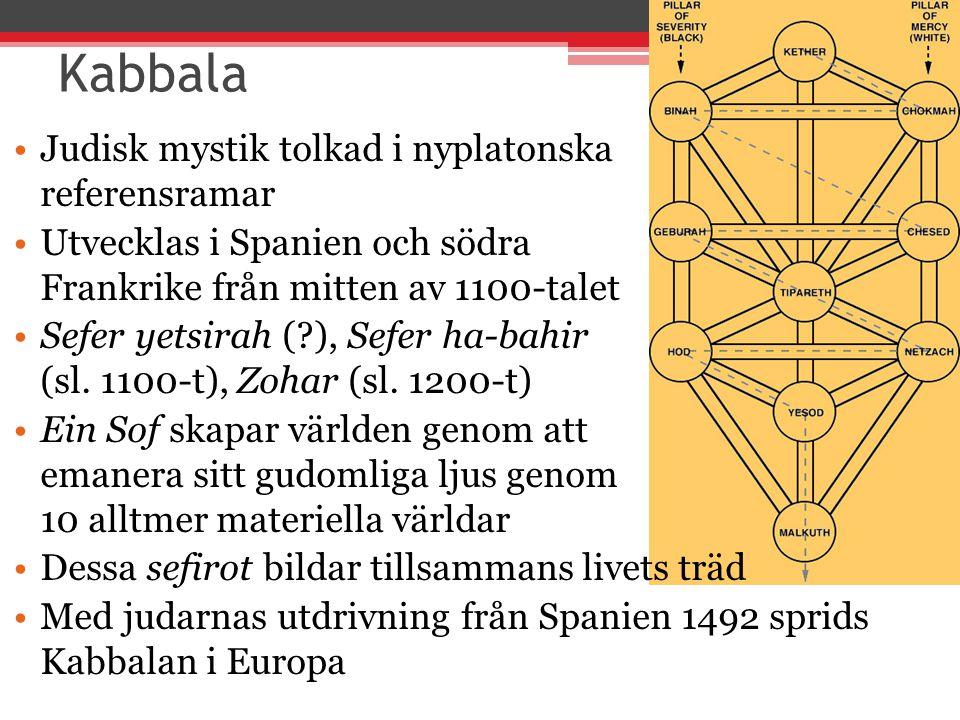 Kabbala Judisk mystik tolkad i nyplatonska referensramar Utvecklas i Spanien och södra Frankrike från mitten av 1100-talet Sefer yetsirah (?), Sefer h