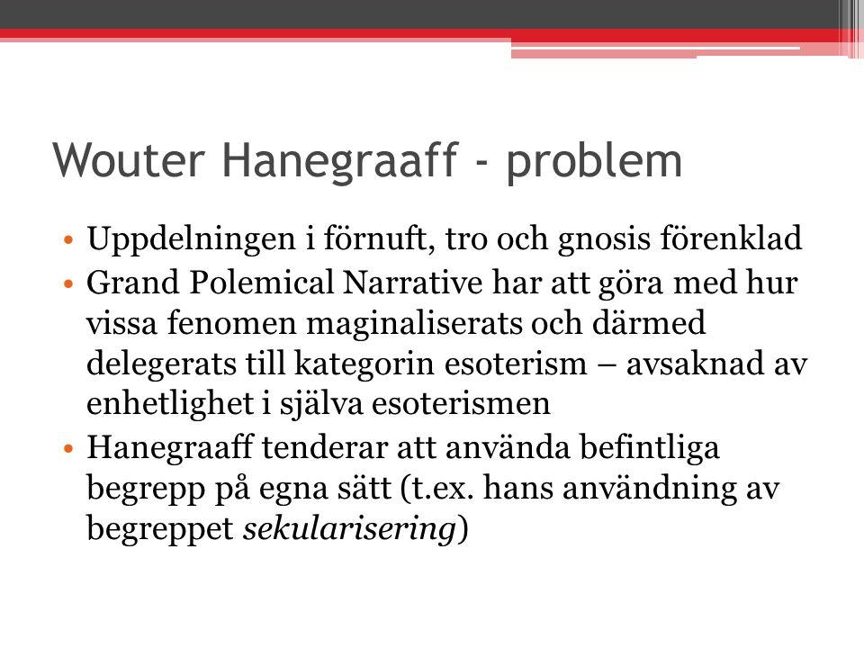 Wouter Hanegraaff - problem Uppdelningen i förnuft, tro och gnosis förenklad Grand Polemical Narrative har att göra med hur vissa fenomen maginalisera