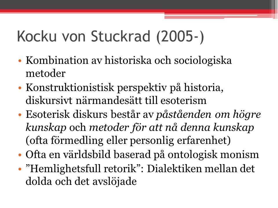 Kocku von Stuckrad (2005-) Kombination av historiska och sociologiska metoder Konstruktionistisk perspektiv på historia, diskursivt närmandesätt till