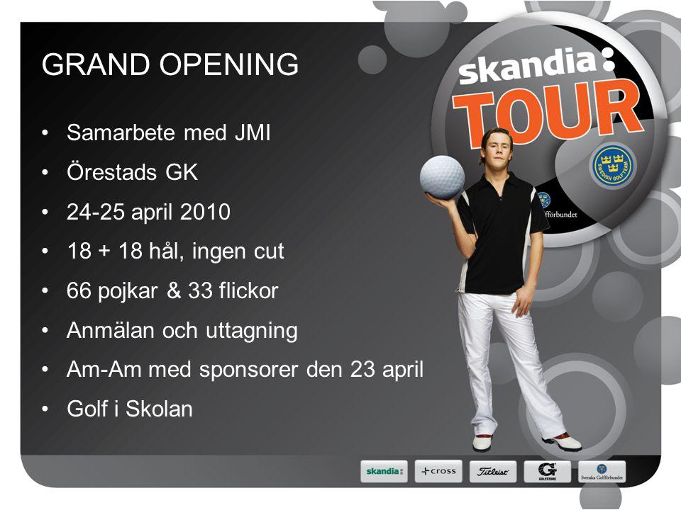 GRAND OPENING Samarbete med JMI Örestads GK 24-25 april 2010 18 + 18 hål, ingen cut 66 pojkar & 33 flickor Anmälan och uttagning Am-Am med sponsorer den 23 april Golf i Skolan