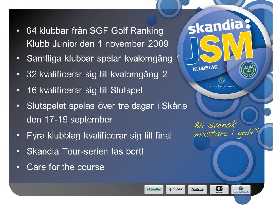 64 klubbar från SGF Golf Ranking Klubb Junior den 1 november 2009 Samtliga klubbar spelar kvalomgång 1 32 kvalificerar sig till kvalomgång 2 16 kvalificerar sig till Slutspel Slutspelet spelas över tre dagar i Skåne den 17-19 september Fyra klubblag kvalificerar sig till final Skandia Tour-serien tas bort.