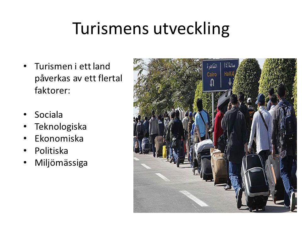 Turismens utveckling Turismen i ett land påverkas av ett flertal faktorer: Sociala Teknologiska Ekonomiska Politiska Miljömässiga