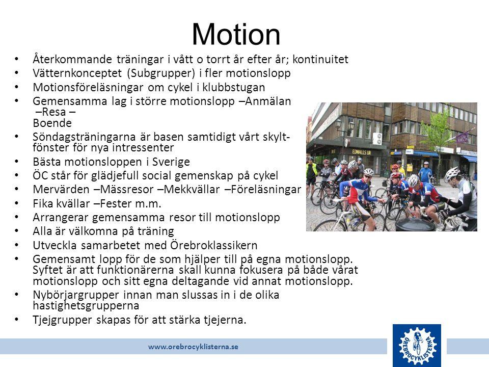 www.orebrocyklisterna.se Återkommande träningar i vått o torrt år efter år; kontinuitet Vätternkonceptet (Subgrupper) i fler motionslopp Motionsföreläsningar om cykel i klubbstugan Gemensamma lag i större motionslopp –Anmälan –Resa – Boende Söndagsträningarna är basen samtidigt vårt skylt- fönster för nya intressenter Bästa motionsloppen i Sverige ÖC står för glädjefull social gemenskap på cykel Mervärden –Mässresor –Mekkvällar –Föreläsningar Fika kvällar –Fester m.m.