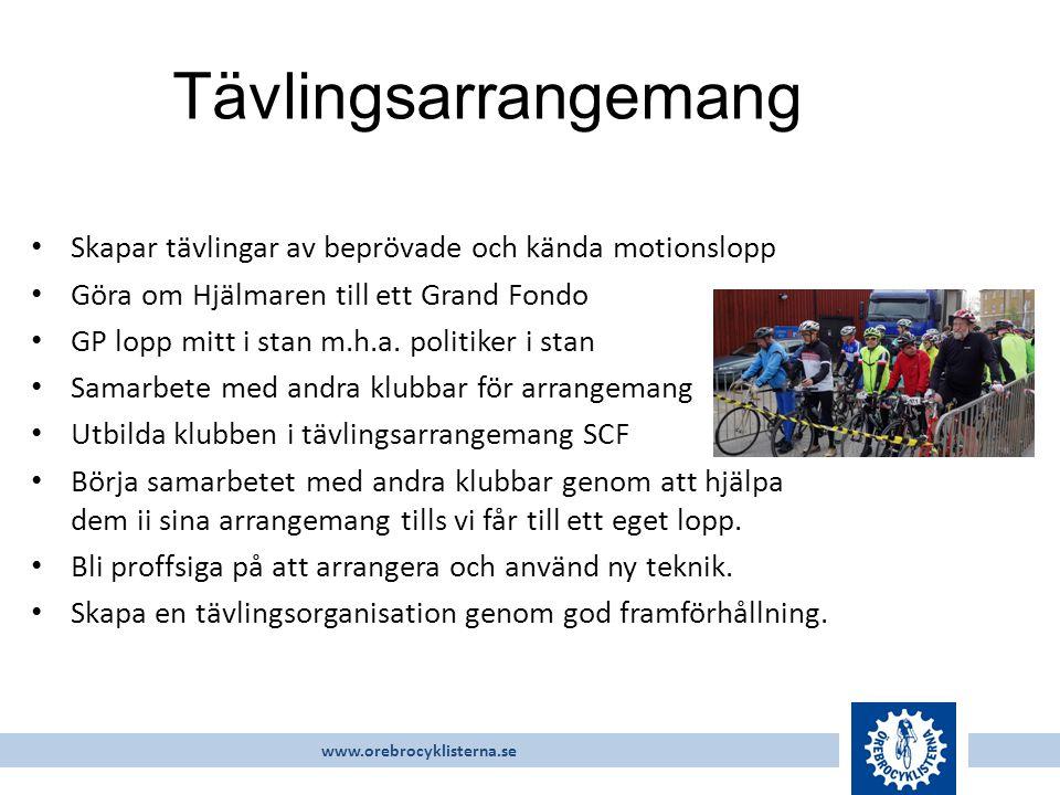 www.orebrocyklisterna.se Skapar tävlingar av beprövade och kända motionslopp Göra om Hjälmaren till ett Grand Fondo GP lopp mitt i stan m.h.a.