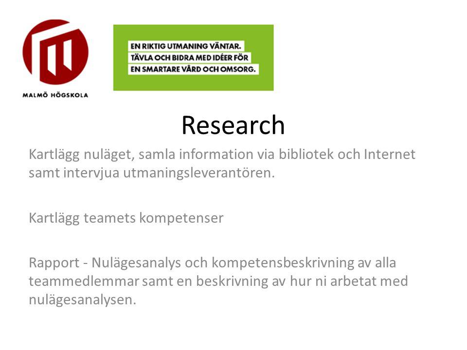 Research Kartlägg nuläget, samla information via bibliotek och Internet samt intervjua utmaningsleverantören. Kartlägg teamets kompetenser Rapport - N
