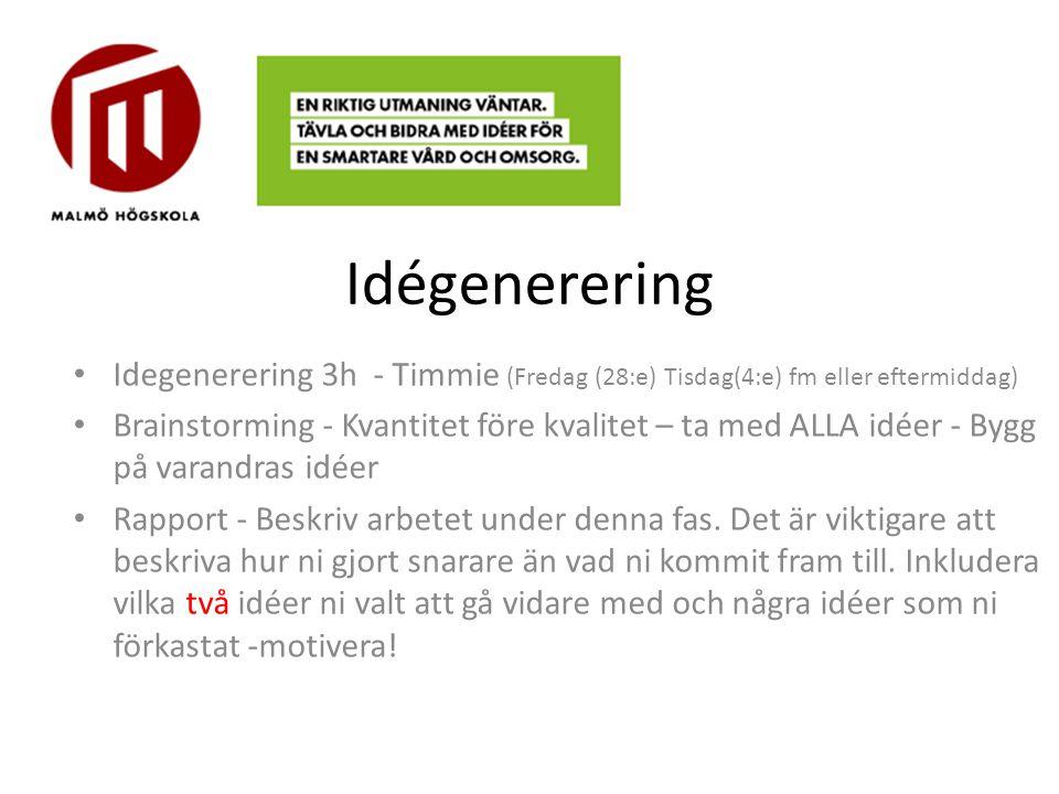 Idégenerering Idegenerering 3h - Timmie (Fredag (28:e) Tisdag(4:e) fm eller eftermiddag) Brainstorming - Kvantitet före kvalitet – ta med ALLA idéer -