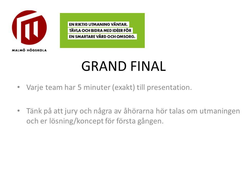 GRAND FINAL Varje team har 5 minuter (exakt) till presentation. Tänk på att jury och några av åhörarna hör talas om utmaningen och er lösning/koncept