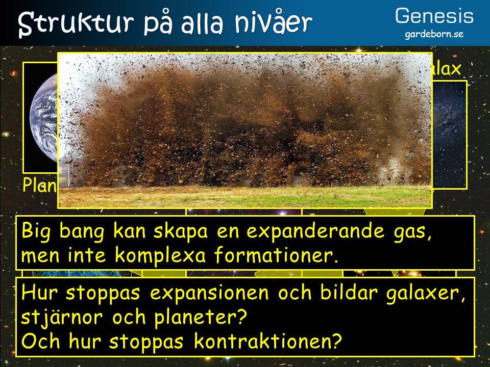 gardeborn.se Galaxsträngar Superhop Galaxhop Galax Solsystem Planet Big bang kan skapa en expanderande gas, men inte komplexa formationer. Hur stoppas