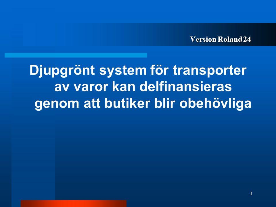 Version Roland 24 Djupgrönt system för transporter av varor kan delfinansieras genom att butiker blir obehövliga 1